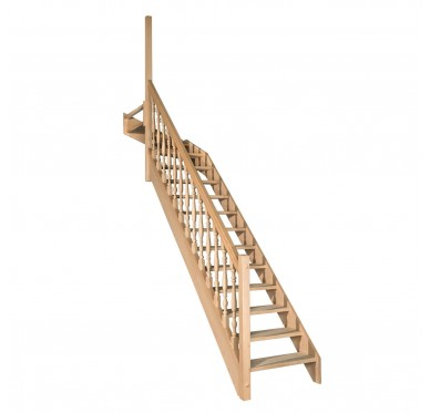 Escalier 1|4 haut gauche sans contremarche H280XR291CM