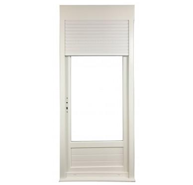 Porte-fenêtre 1 vantail en PVC H205xL90cm, volet roulant intégré