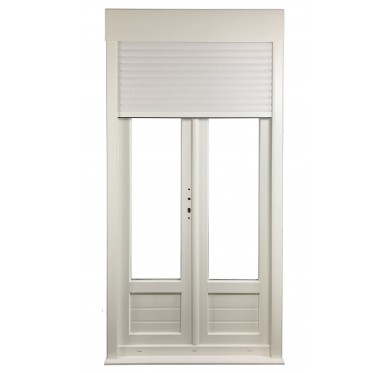 Porte-fenêtre 2 vantaux en PVC H205xL140cm, volet roulant intégré