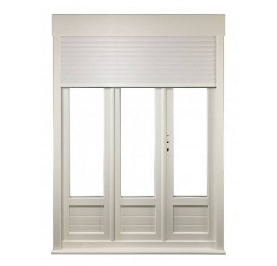Porte-fenêtre PVC 3 vantaux tirant droit H 215 x L 180 cm, volet roulant manœuvre à tringle intégré
