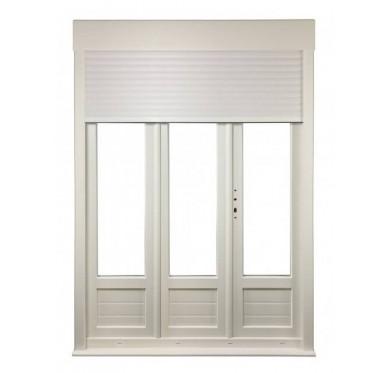 Porte-fenêtre PVC 3 vantaux tirant droit H 215 x L 210 cm, volet roulant manœuvre à tringle intégré