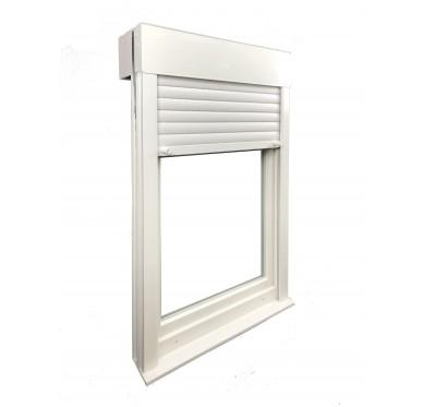 Fenêtre PVC verre granité 1 vantail tirant droit H 75 x L 60 cm, volet roulant électrique intégré