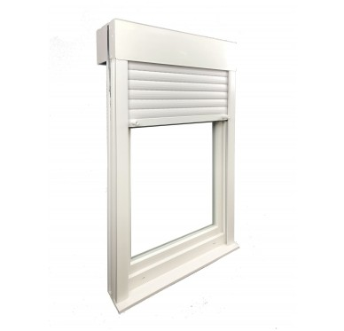 Fenêtre PVC 1 vantail tirant droit H 105 x L 60 cm, volet roulant manœuvre à tringle intégré