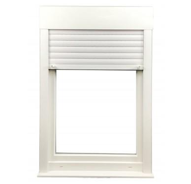 Fenêtre PVC 1 vantail tirant droit oscillo-battante H 105 x L 80 cm, volet roulant manœuvre à tringle intégré
