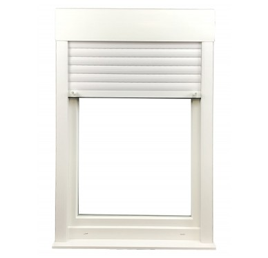 Fenêtre PVC 1 vantail tirant droit H 115 x L 60 cm, volet roulant électrique intégré