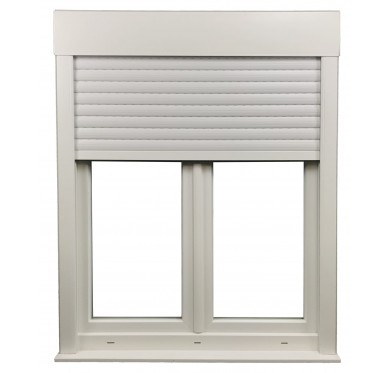 Fenêtre PVC 2 vantaux H 105 x L 140 cm, volet roulant manœuvre à tringle intégré