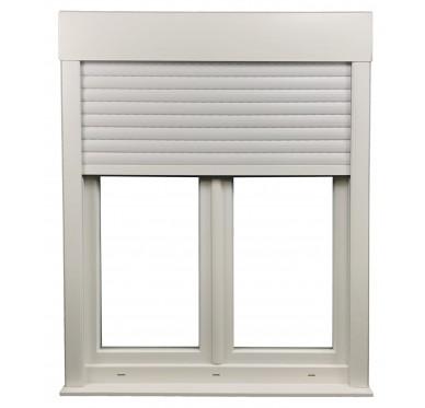 Fenêtre 2 vantaux en PVC H135xL90cm, volet roulant intégré.