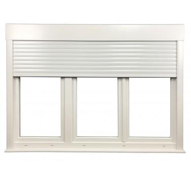 Fenêtre PVC 3 vantaux H 145 x L 210 cm, volet roulant électrique intégré