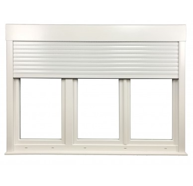 Fenêtre PVC 3 vantaux H 165 x L 180 cm, volet roulant manœuvre à tringle intégré