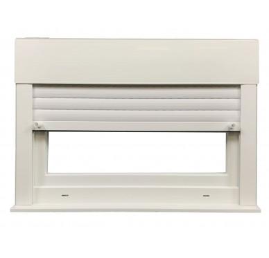Fenêtre PVC abattant verre granité H 45 x L 40 cm, volet roulant manœuvre à tringle intégré