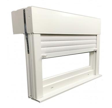Fenêtre PVC abattant verre granité H 60 x L 90 cm, volet roulant manœuvre à tringle intégré