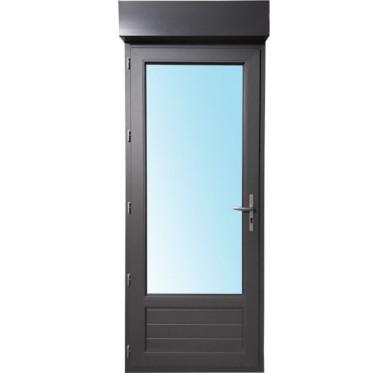 Porte-fenêtre 1 vantail en PVC H205xL80cm, volet roulant intégré