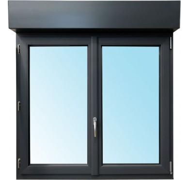 Fenêtre 2 vantaux en PVC H115xL120cm, volet roulant intégré