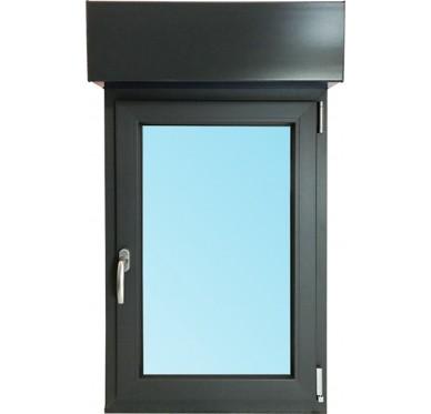 Fenêtre 1 vantail, tirant droit en PVC H75xL80cm, volet roulant électrique intégré