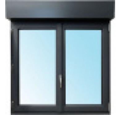 Fenêtre 2 vantaux en PVC H 145xL 120 cm, volet roulant intégré
