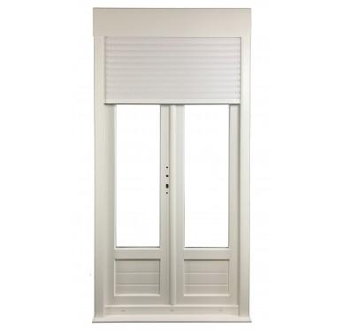 Porte-fenêtre 2 vantaux en PVC H225xL120cm, volet roulant manœuvre à tringle intégré