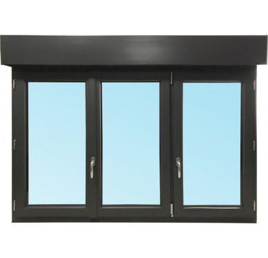 Fenêtre 3 vantaux en PVC H135xL180cm, volet roulant électrique intégré