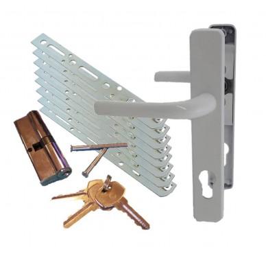 Kit accessoires pour bloc-porte, poignée, barillet et pattes de fixation