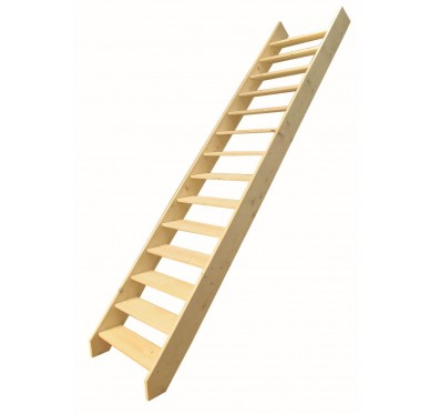Escalier droit en sapin, sans contremarches, sans rampe, H285xR276cm