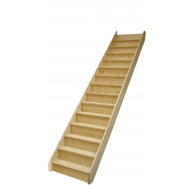 Escalier droit en sapin, avec contremarches, sans rampe, H285xR276cm