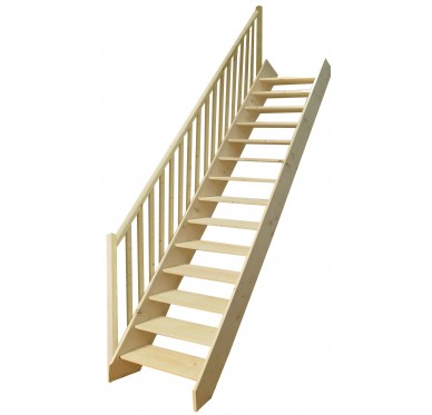 Escalier droit en sapin, sans contremarches, H285xR276cm