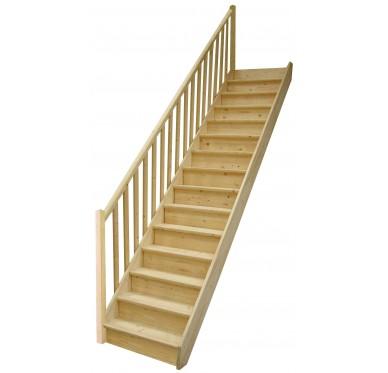 Escalier droit en sapin, avec contremarches, H285xR276cm