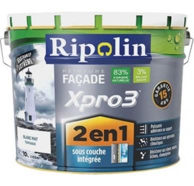 Peinture façade 2en1 xpro3 RIPOLIN, 10 l, Coloris Blanc