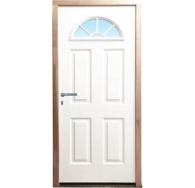 Porte d'entrée en acier galvanisé prépeint 215 x 90 cm poussant droit