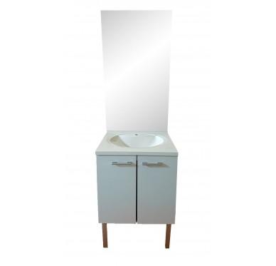 Meuble de salle de bains bas 2 portes, avec vasque et miroir, Largeur 60 cm