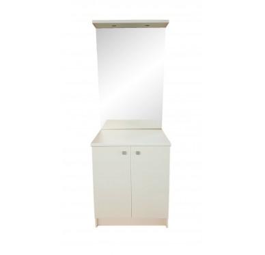 Meuble de salle de bains bas 2 portes, avec plan de toilette, miroir et luminaire, Largeur 70 cm
