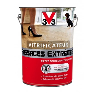 Vitrificateur V33, passages extrêmes, chêne moyen, satin, 0.75 l