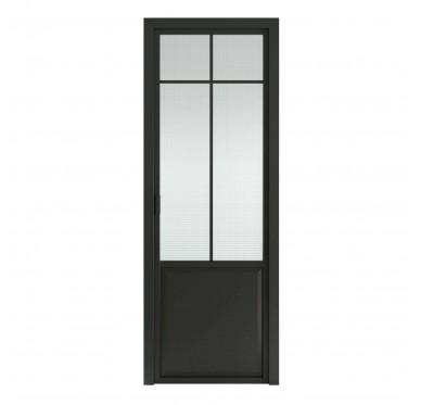 Bloc-porte intérieur fin de chantier verrière, 204x83 cm, noir, poussant droit